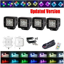 4x 3 Inch 24w Led Work Light Flood Beam Pods W/ Rgb Halo Chasing And Free Wiring