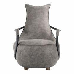 27 W Vanessa Club Chair Tapered Back Iron Arms Grey Velvet Modern Industrial