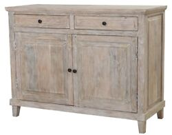 49 L Penelope Sideboard Solid Mango Wood Distressed White Wash Rustic