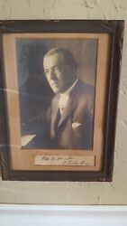 Woodrow Wilson Signed Excellent Condition Harris And Ewing Framed At Coopers Art