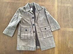 Euc Boys Coat Jacket Tea Collection 3t Brown Plaid Long Trench Dress Coat Lined
