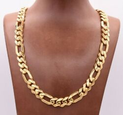 11mm Mens Figaro Cuban Royal Link Chain Necklace Box Clasp Real 10K Yellow Gold
