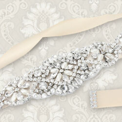 Rhinestone Wedding Bridal Sash Belt Dress Applique Crystal Pearl Beaded Hot Fix
