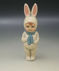 Vaillancourt Folk Art Chalkware 1999 Child In Bunny Suit Easter Spring Le 66/551