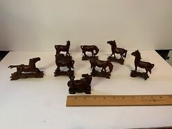 8 Vintage Hand-carved Wood Horse Figures Japan Glass Eyes 1940-50and039s