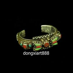 Tibetan Tribe Jewellery Jewelry Pure Silver Inlay Coral Turquoise Racelet Bangle
