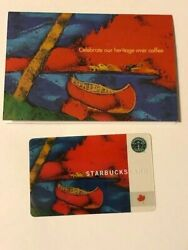 Starbucks Card 2003 Red Canoe Canada Heritage With Sleeve Old Logo Rare Used