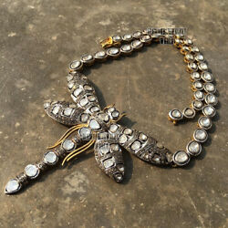 Vintage 10.14cts Real Rose Antique Cut Diamond Silver Dragonfly Necklace Jewelry