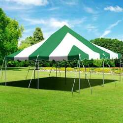 Premium 20x20and039 Pole Tent Green White Commercial Heavy Duty Vinyl Party Canopy