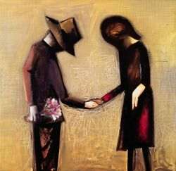 Charles Blackman The Meeting Signed Limited Edition Print 65cm X 67cm