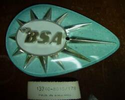 Bsa 1958-67 A50 A65 Tear Drop Gold/white Blue Left Hand Tank Badge And Screw Oem
