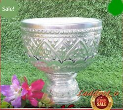 Bowl Tray Water Dipper Tumbler Silver Color Thailand Product Vintage