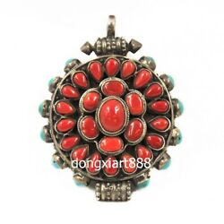 Tibetan Pure Silver Inlay Coral Turquoise Niche For Buddha Necklaces And Pendants