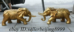 24andrdquo China Brass Dynasty Palace Fengshui Auspicious Wealth Elephant Statue Pair