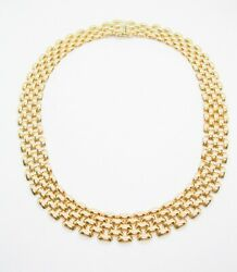 Vintage 14 K Solid Yellow Gold Necklace Panther Link Italy 16 47 Grams