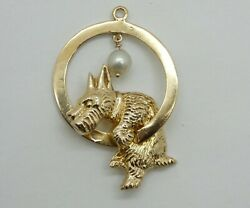 Cute Vintage 14k Gold Scottish Terrier Dog Jumping Though a Hoop Charm