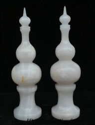 Collect China Natural Afghanistan Jade Stone Carving Fengshui Gourd Statue Pair