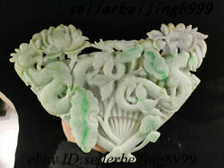 China 100 A Class Jadeite Emerald Jade Carving Dragon Loong Lotus Flower Statue