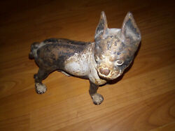 VINTAGE  ANTIQUE CAST IRON BOSTON TERRIER DOG DOOR STOPS DachshundLK