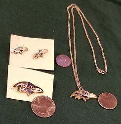 Nfl Baltimore Ravens Jewelry Stud Earrings, Necklace And Hat Lapel Pin