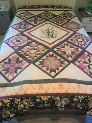 New Gorgeous Applique Medallion Handmade Mennonite Hand Quilted Reversible Quilt
