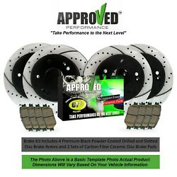 Front and Rear Premium Brake Rotors Drilled amp; Slotted with Ceramic Pads $167.95