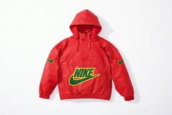 Supreme X Nike Leather Anorak Red L