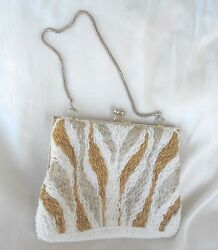 Handbag Beaded Evening Gold Silver White 6 1 2in drop Silver Gold Strap $19.99