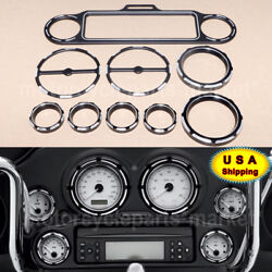 Black Stereo Accent Speedometer Speaker Trim Ring Cover For Harley Touring 96-13