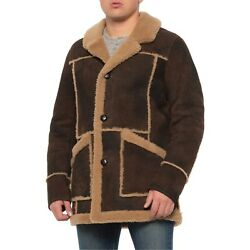 Cole Haan Leather Shearling Long Jacket For Men Size- Medium Sale