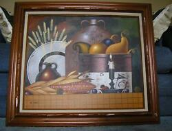 AUTUMN STILL LIFE AMERICANA CORN CANDLE SQUASH GARDEN VEGETABLES CANDLE PAINTING