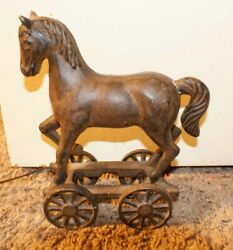 Reproduction 1890's Horse Pull Toy Door Stop Vintage Cast Iron Unbranded
