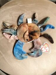 Ty Beanie Babies Claude The Tie-dyed Crab, Authentic Original Condition