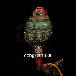 Tibet Buddhism Inlay Coral Turquoise Shell Conch Whelk Sea Snail Charonia Horn
