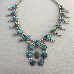 Bisbee Turquoise Squash Blossom Necklace Circa 1970's Sterling Silver