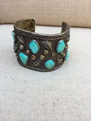 Navajo Cuff Bracelet Sterling Silver And Turquoise Antique Early 1900's