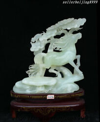 China Xiuyan Jade Hand Carved Fengshui Wealth Running Lucky Horse Monkey Statue