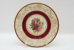 4 Hutschenreuther Gold Encrusted Maroon And Floral Dinner Plate Plates 10 7/8 Inch