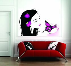 Wall Girl With Butterfly Sticker Wall Poster PVC Vinyl 31 X 20 Inch Decal
