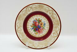 2 Hutschenreuther Gold Encrusted Maroon And Floral Dinner Plate Plates 10 7/8 Inch