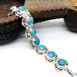 Tibet Tribe Jewellery Jewelry Pure Silver Inlay Turquoise Chain Bracelet Bangle