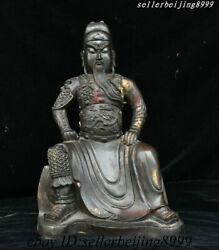 Antique China Dynasty Bronze Protect Warrior God Loong Dragon Guan Gongyu Statue