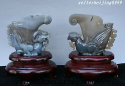 Rare China Natural Agate Hand Carving Fengshui Weailth Phoenix Bottle Vase Pair