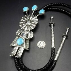 Spectacular Navajo Hand Stamped Sterling Silver And Turquoise Kachina Bolo Tie