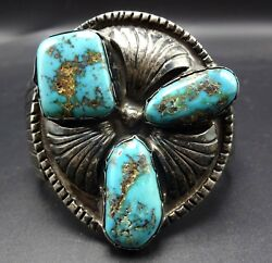 Heavy 131g Signed Vintage Navajo Sterling Silver And Turquoise Cuff Bracelet
