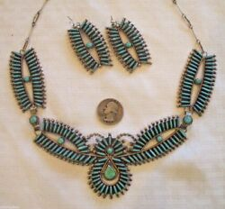 Exquisite Navajo Sterling Turquoise Needlepoint Necklace Earrings Set J Yazzie