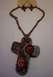 Boho style Multi colored Beaded Large CROSS with matching earrings N34 15 22