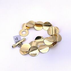 Roberto Coin Double Row Disc Toggle 18k Yellow Gold Bracelet