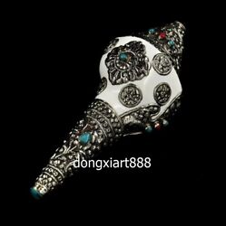 Tibet Silver Wire Inlay Shell Conch Whelk Sea Snail Eight Treasure Charonia Horn
