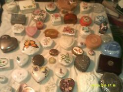 Large Lot Of Lidded Compotes Trinket Boxes More Related Porcelain Metal Wicker R